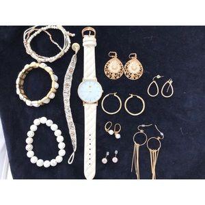 Bundle of gold/ivory bracelets, earrings, watch